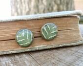 Real Leaf Earrings - Green Fern Earrings, Woodland Wedding Jewelry, Rustic Green Bridesmaids Jewelry, Pressed Leaf Stud Earrings