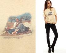 80s Tshirt Gun Range Hunter Shirt Tee Retro Thin BURNOUT Hornady Bullets Redneck 1980s Graphic Vintage t shirt Americana Beige Small Medium