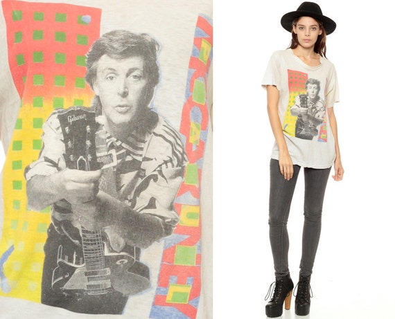 Paul McCartney Shirt 1989 World Tour 1980s Band Tee Vintage White 80s Rock TShirt Beatles Concert