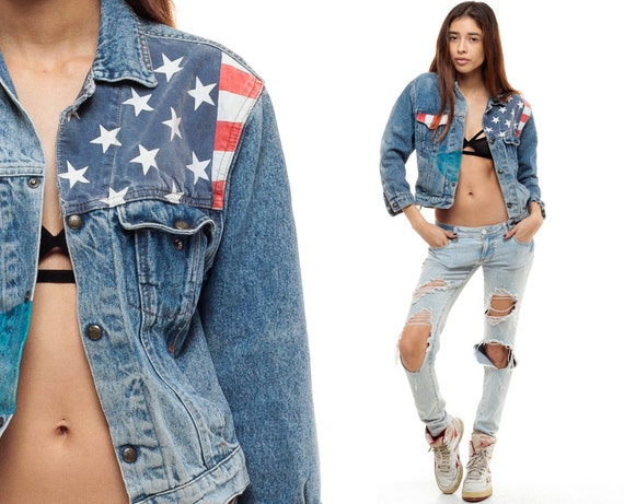 American Flag Jacket 80s Jean Jacket Denim Jacket Cropped Red