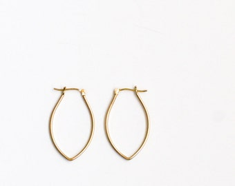 """Solid 14K gold earrings handmade in an alternative modern style for comfort to be worn for that special outing - """"Petite Porter Hoops"""""""