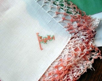 "Vintage  White Linen  Hanky  Embroidered ""T""  Monogram Peach  Crocheted  Edges"