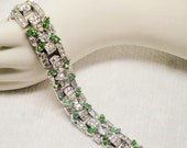 Elegant Vintage Emerald and Clear Rhinestone Bracelet
