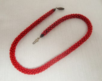 Vintage Red Seed Bead Cord Necklace