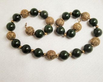 Vintage Bakelite Dark Green Spinach Bead and Filigree Gold Tone Metal Bead Necklace