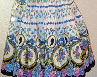 Vintage Lowenstein Ever-Pleat Cameo And Roses Half Apron