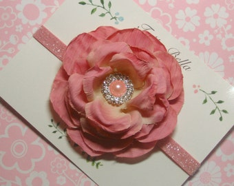 Mauve Pink Flower Headband, Pearl & Rhinestone Headband, Flower Girl Headband, Toddler Headband, Newborn Headband, Pink Glitter Headband