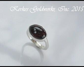 Garnet Ring Silver Handmade
