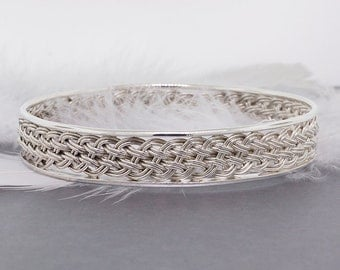 Sterling silver bangle, weaved bangle, large sterling silver bangle, one-of-a-kind bangle