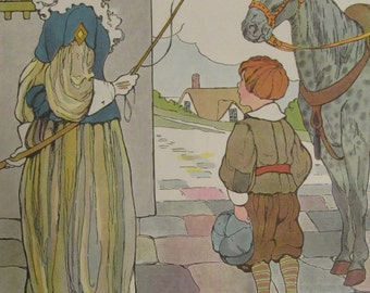 1970s Children's Print-DAPPLE GRAY-Mother Goose Print-Vintage Book Page-Perfect for Framing