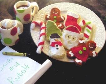 Waiting for Santa Christmas gingerbread Cookie Felt Food Pattern Easy Hand Sewing Pattern Ornament, Decoration and Play Toy