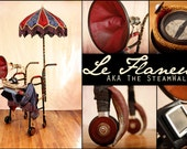 Le Flaneur/ The SteamWalker Steampunk Walker with attached GPS, parasol, gramophone and cow horns