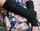 Mitaines noires - baby alpaga bras gants alpaga chauffe - cadeau pour ses mitaines - mitaines de laine hiver-