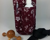 Massage Therapy Single lotion bottle RIGHT hip holster, Texas A&M print, black belt
