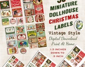 30 Dollhouse Miniature Vintage Style Christmas Labels Digital Download Printable Original Clip Art Jar Bottle Tag Image Collage Sheet
