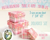 Miniature Stacking Boxes Dollhouse Printable Digital Download DIY Pink Floral Box Make Yourself Instructions Tutorial Included