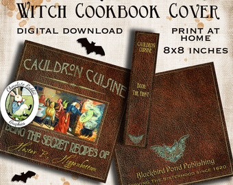 Halloween Witch Cook Book Cover Printable Vintage Digital Download DIY Clip Art Scrapbook Card Image