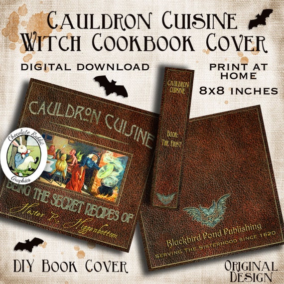 Halloween Book Cover Printable : Halloween witch cook book cover printable vintage digital