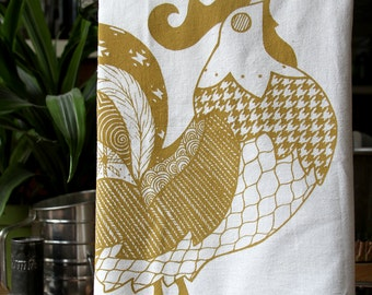 Rooster Flour Sack Towel - Hand Screen Printed