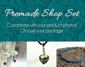 TEAL Etsy Banner Package with PHOTOS! (Your custom product pictures on shop banner) Peacock Blue Floral Design, Personalized Shop Graphics