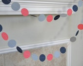 Coral, Navy Gray Paper Garland, Navy Coral Gray Wedding Garland, Graduation Decor, Photo Backdrop, Birthday Party Decor, Bridal Shower Decor