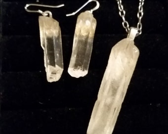 Natural Clear Crystal Quartz earrings and pendant with stainless chain