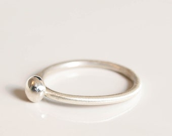 shiny pebble sterling silver ball ring