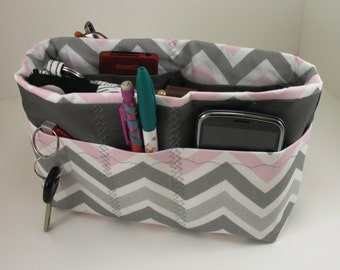Purse Organizer Insert with Enclosed Bottom - Green  or Pink and Gray Chevron  Print-Small Pictured - 5 sizes available with options