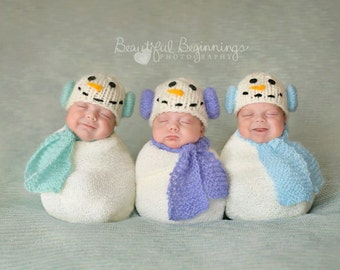 Snowman Hat Scarf Set Knitted Newborn Christmas Photo Prop Costume Shower Gift Infant Girl Baby Beanie going home Outfit Winter Boy Coming