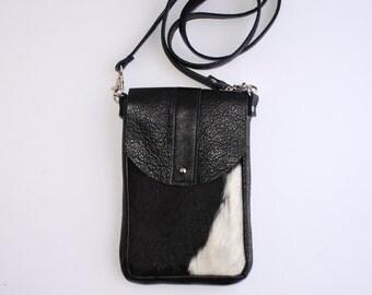 DAKOTA Cow Hide Crossbody Bag - Black and White Hair on Hide - Black Leather - Leather Messenger Bag - Boho - Womens Handmade