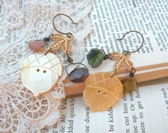 fall gemstone acorn earrings assemblage leaves charm