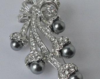 NOLAN MILLER Silver Tone Metal, Black Faux Pearl & Crystal  Brooch Pin