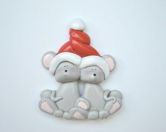 Personalized Mouse Couple Christmas Ornament