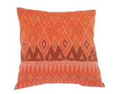 Ikat, Pillow, Cushion, Cotton, Handwoven, 16x16, Orange
