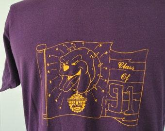 Vintage Tshirt Class of 1991 Massachusetts Montachusett Bulldogs MA Soft Thin XL LARGE