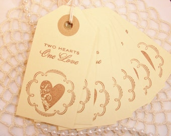 SALE Wedding Tags Two Hearts One Love Favor and Gift Heart Set of 16
