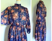 Vintage 1980's Blue Pink Floral Dress // Balloon Sleeve Dress // Hippie Boho Long Sleeve Dress