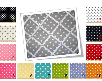 Polka Dot French Memo Board - Bulletin Board - in Your choice of fabric and ribbon colors - 16 x 20 - FREE U.S. Shipping
