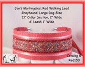 Jan's Martingales, Red Walking Lead, Collar and Lead Combination, Greyhound, Large Dog Size, Red150