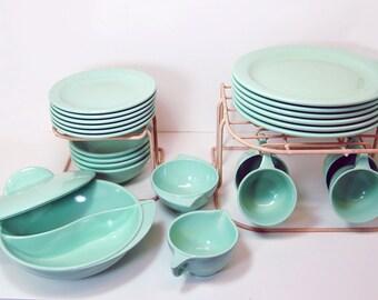 Art Deco Modern Boonton Mint Green 1950s Melmac Dishes Serving Bowl