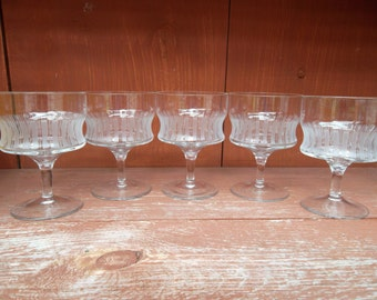 Vintage Vertical Etched Footed Cordial Wine Glass Set of 5