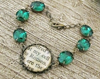 Romeo and Juliet Bracelet Emerald Green Vintage Glam It Up Jewel Shakespeare Upcycled Estate Style Two Cheeky Monkeys Jewellery Handmade