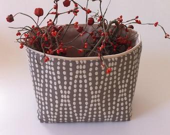 gray and cream dot textured medium fabric storage bin // basket //