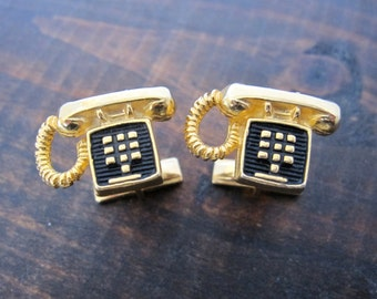 Vintage Telephone Cufflinks, Gold and Black Phone Shaped Novelty Cuff Links