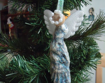 Iridescent Oyster Shell Angel Christmas Tree Ornament