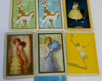 Lot  Playing Swap Cards 10 Vintage Linen Art Deco lady banjo tennis scotty dogs