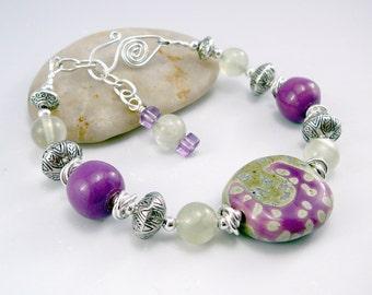 Fair Trade Jewelry, One of a Kind Bracelet, Ceramic Jewelry, Silver Bracelet for Women, Adjustable Bracelet, Kazuri Beads, Smart Jewelry