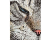 cat drawing small art print --feel like sleeping  cat lover gift unique card art (152)