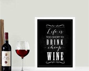 Cheap wine chalkboard wall art print