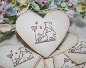 Winnie the Pooh Stickers - Envelope Seals - Pink Hearts - Pink Balloon